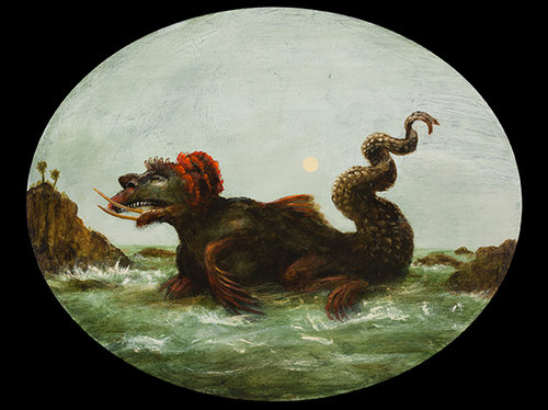 """Dragon In Extremis, 16""""x20"""" oval, acrylic on canvas"""