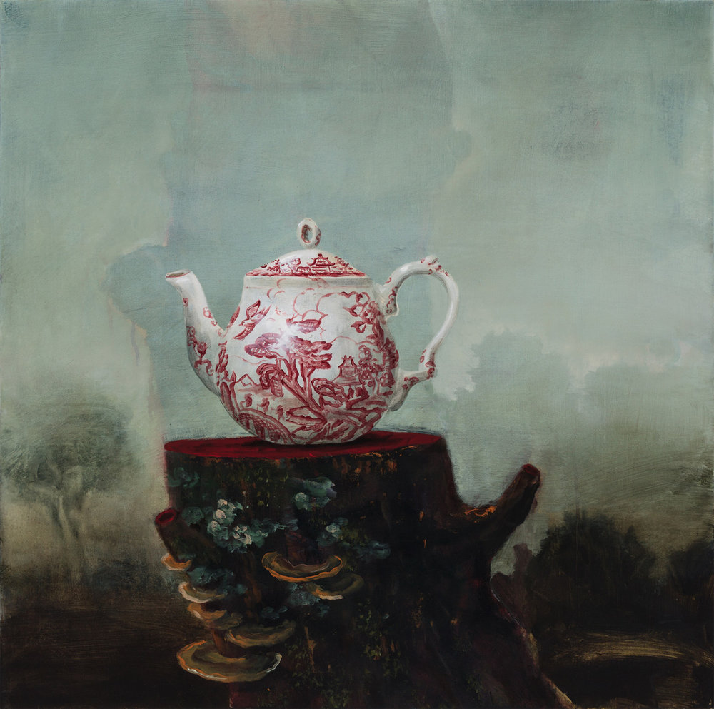 """Tea With Ghosts, 30""""x30"""""""