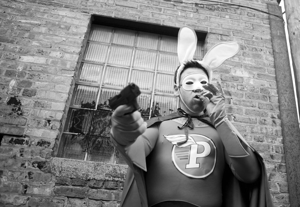 Down Trodden Bunny Super Hero Robbery