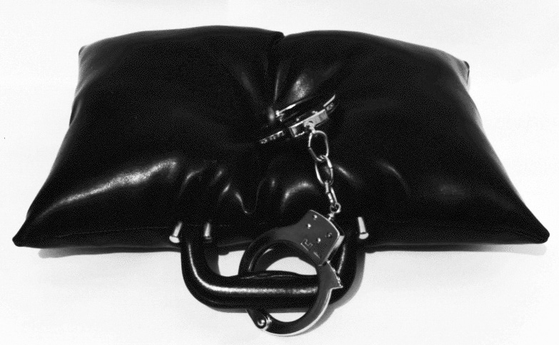 Cellular . Leather, foam, handcuffs, steel.  20 x 16 x 5 inches
