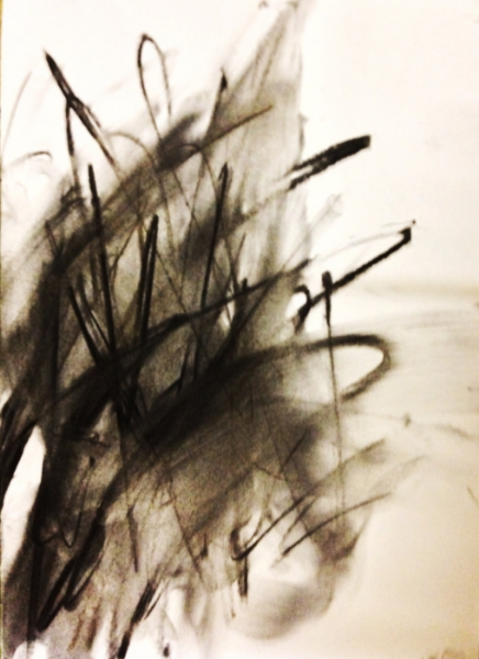 Black Mass #3 . Charcoal on canvas. 24 x 16 inches