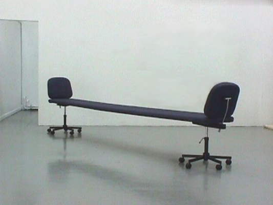 No Conferring . Office chairs, steel, foam, fabric. 191 x 44 x 28 inches