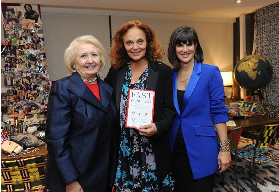 "Ambassador Melanne Verveer,  Diane von Furstenberg and Kim Azzarelli celebrating the release of ""Fast Forward: How Women Can Achieve Power and Purpose,"" (Photo by Diane Bondareff/Invision for Seneca Women/AP Images)"