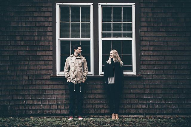 """""""Can we get a photo in front of this dirty old building?"""" Always. . . . #2016 #yyj #victoria #lovers #engagement #engagementphotos #photography #winter #pnw #december #moody #magichour #light #junebugweddings #vsco #photoshoot #photographer"""