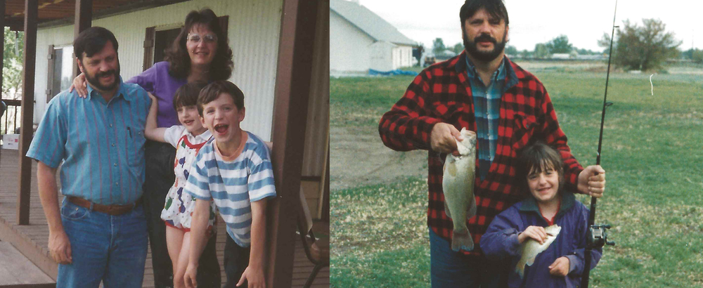 (left) Rachel, her dad, mom and brother. (right) Rachel and her dad.