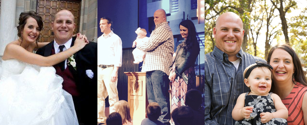 (left) Dan & Rachel's wedding day. (center) Abigail's baptism. (right) Dan, Rachel & Abigail.
