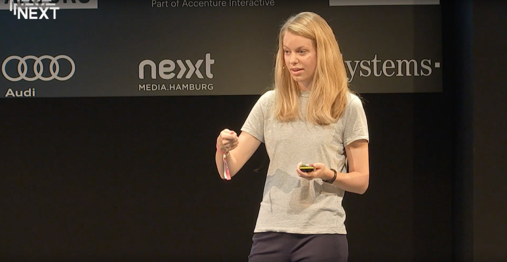 Lily speaking at Next Conference 17 in Hamburg, Germany.