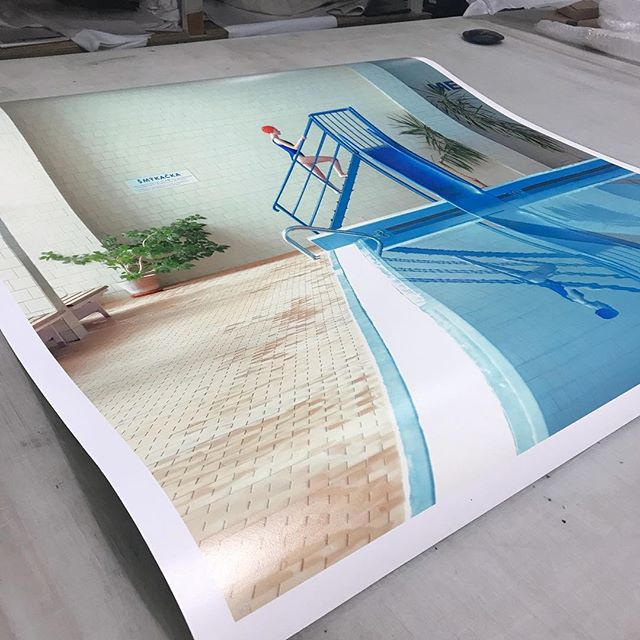 Preparing a print for framing for a Miami based client . Work by Slovakian artist Maria Svarbova titled Smykacka II 90cm x90cm Looking forward to exhibiting more from the series in Stockholm in October and Singapore in November #@momentum_fine_art @maria.svarbova @affordableartfairsg @affordableartfairsthlm #swimsuit #swimmingpool