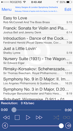 MPoD software playlist (selection) on my iPhone 5S.