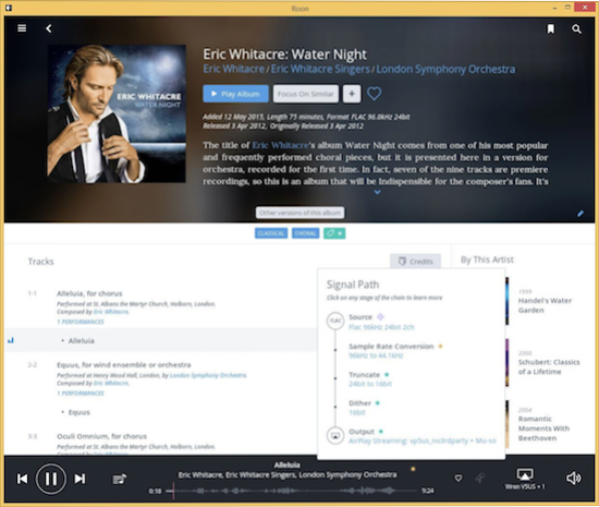Roon shows details of how tracks are being processed and decoded.