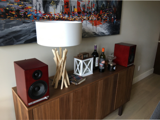 Real life speakers deserve real life setups. The HD6s enjoying a mid century modern setup.