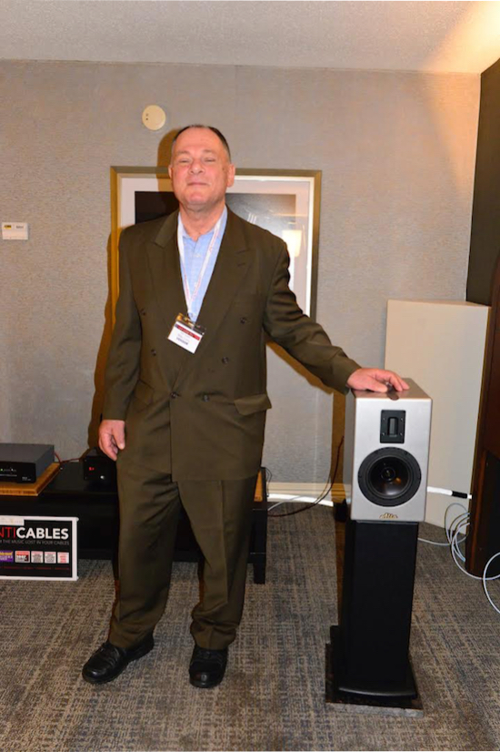 Mike Levy of Alta Audio with his new IO Loudspeaker.