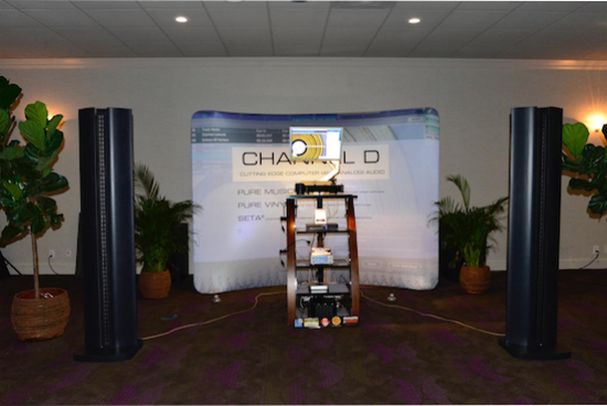 Channel D, maker of fine audio software such as Pure Music digital music software for Mac and Pure Vinyl for Digital LP playback, had a spacious and tasteful display in the Regency Room illustrating their wares.