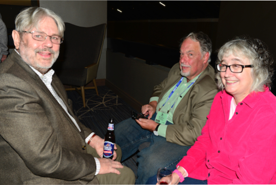 Left -- Right:  John Atkinson (Stereophile), Bill Leebens, Carol Clark (Positive Feedback).