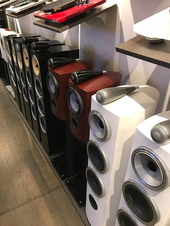 A phalanx of B&W Loudspeakers.