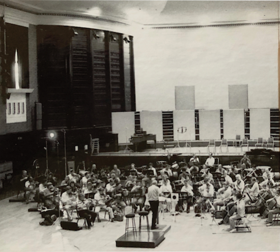 Detail of a photograph from recording session at Watford Town Hall. Photo: Adrian Rowland
