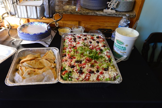 Yes, there was plenty of food and drink to welcome us when we entered. Lots of Greek specialties, too.