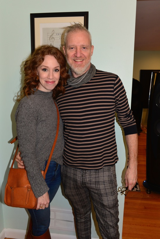 Chris Barron, lead singer of Spin Doctors with his lovely wife, Broadway star, Lindsay Nicole Chambers. He brought his new LP,  Angels And One-Armed Jugglers  so he could hear it played for the first time on vinyl. The crowd loved it.