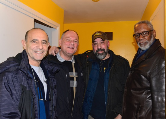 Audiophilia writers Martin Appel and Henry Wilkenson flanking Mike Levy of Alta Audio and Jay Lawrence of the Long Island Audio Society.