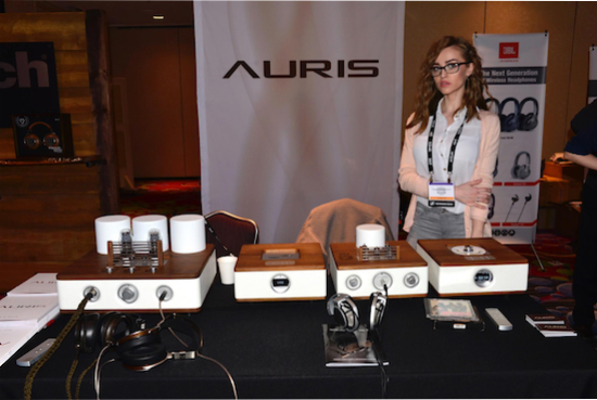 Auris Audio display table with Tijana Marjanovic (Brand Manager)