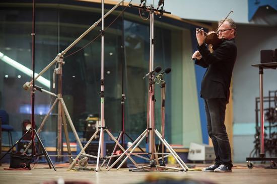 Bowes recording Bach at Abbey Road Studio No. 1. Photo credit: Ben Ealovega.