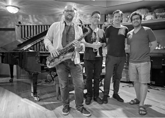 Andy Zimmerman, tenor, Dave Douglas, trumpet, bassist Matt Penman and pianist Kevin Hays.