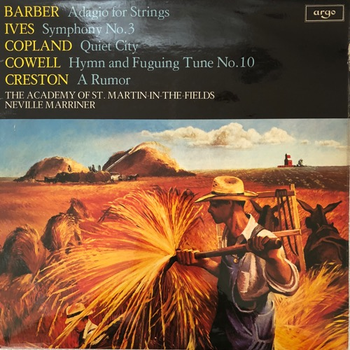 This is from the Golden Days of the Academy. Superbly recorded on a beloved Argo with the most exceptional playing of an American program on vinyl. Also found in lots of classical bins. The Barber and Copland are amazing, but the Cowell, Ives and Creston get definitive performances of relatively obscure works.