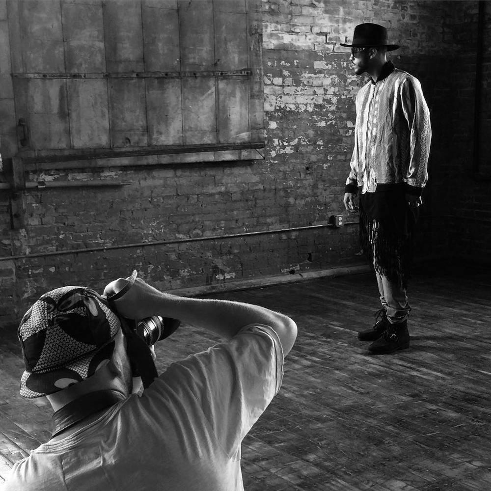 On set of Coogi Fall '15 Campaign shoot