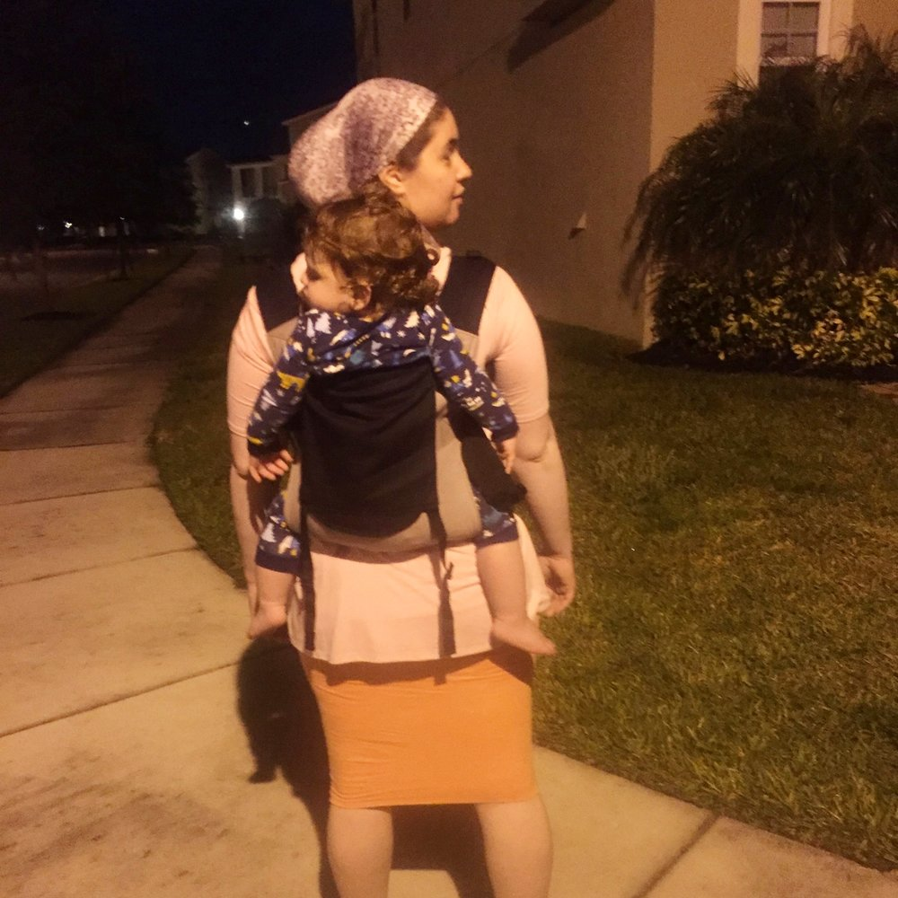 Bedtime walk in our Integra Baby Carrier