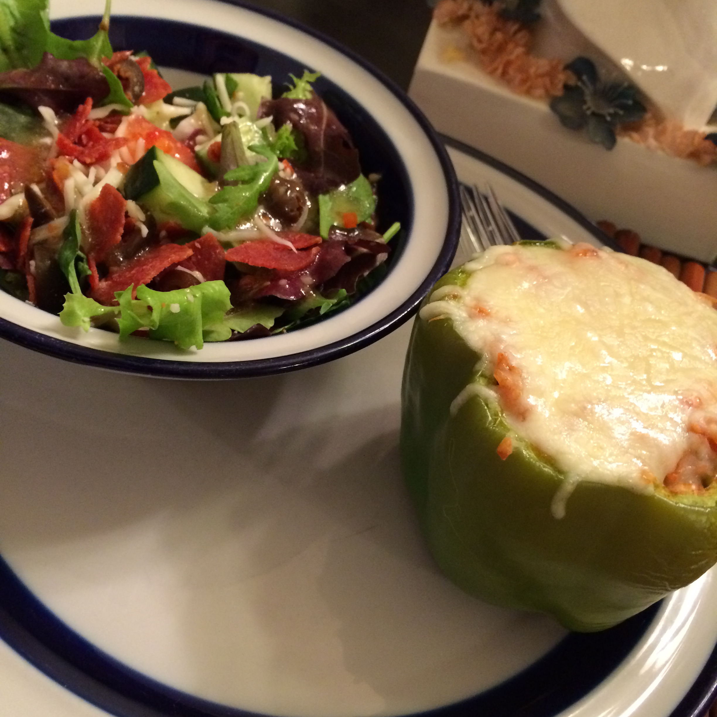 Stuffed Bell Peppers and TexItalian Chopped Salad