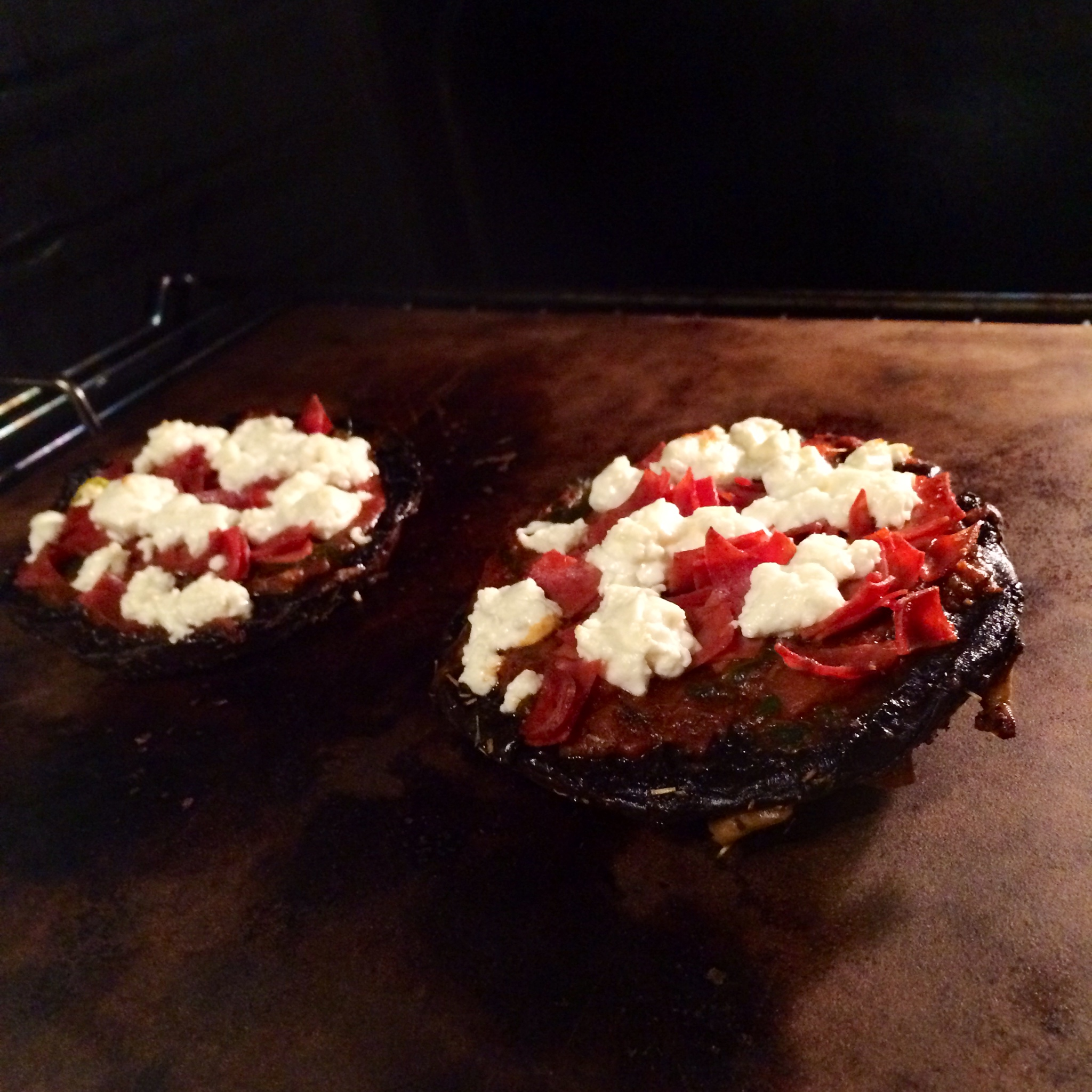 Portobello Pizza with Turkey Pepperoni and Goat Cheese