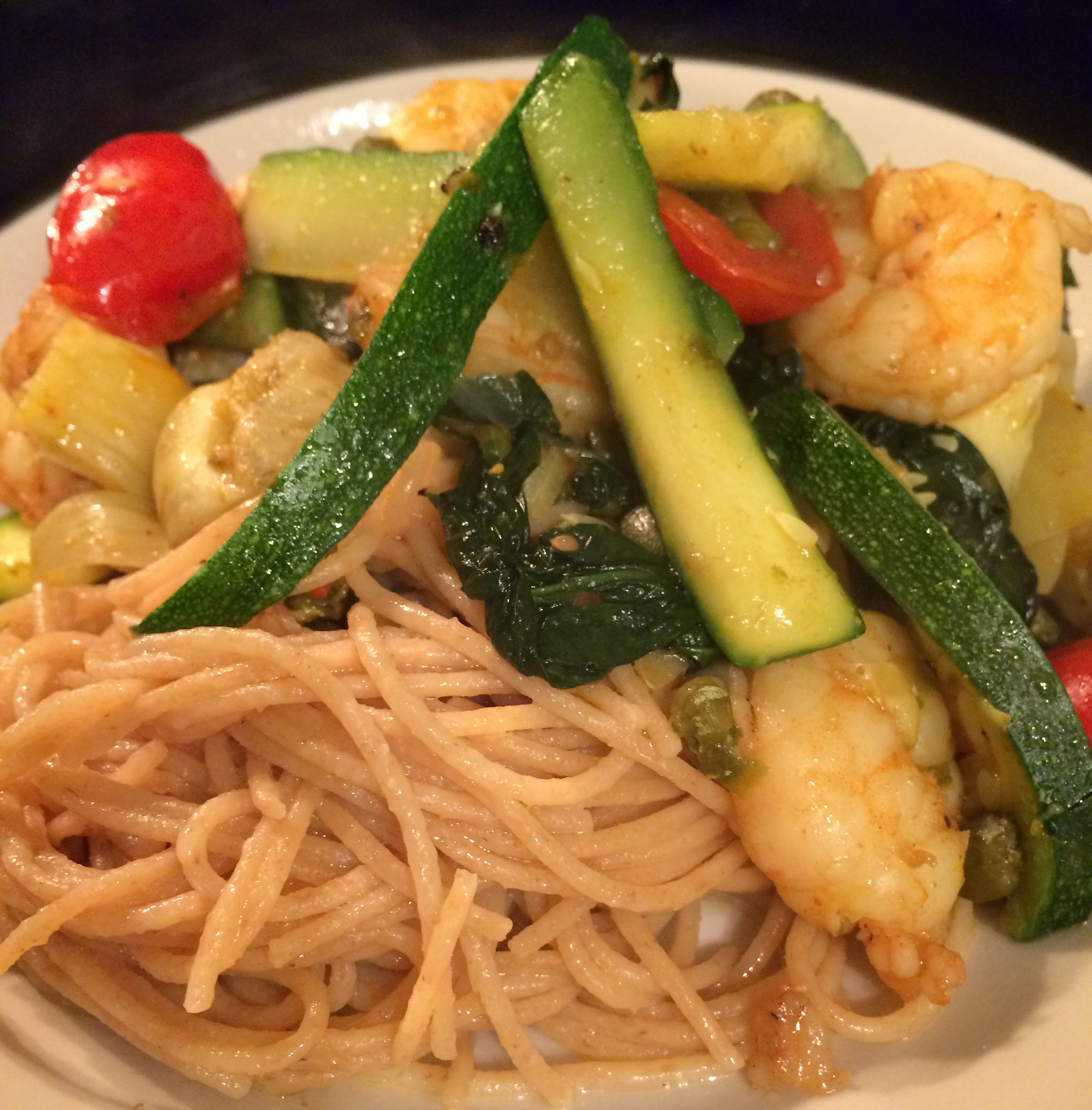Shrimp Primavera with Lemon-Rosemary Pasta