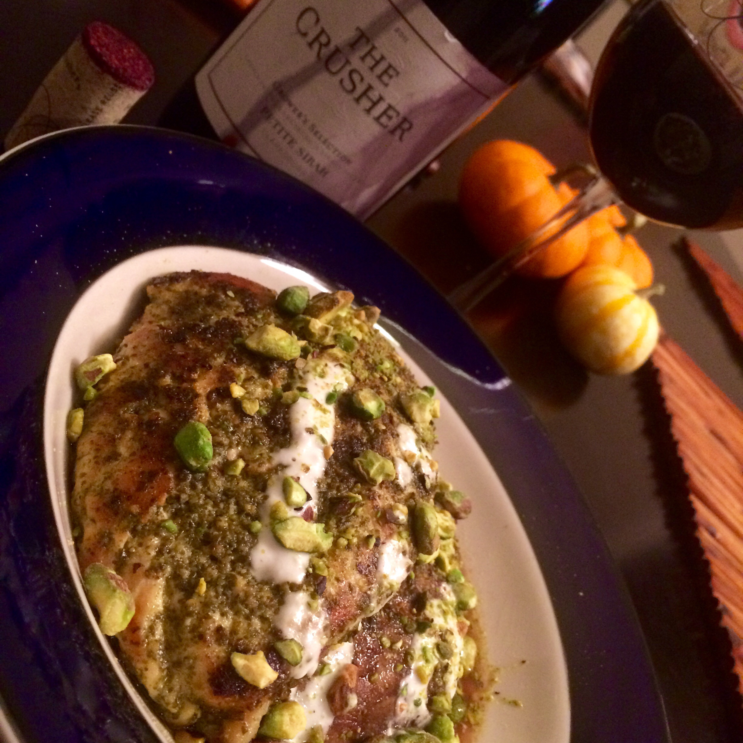 Pesto Chicken with Portobellos, Goat Cheese Drizzle and Toasted Pistachios