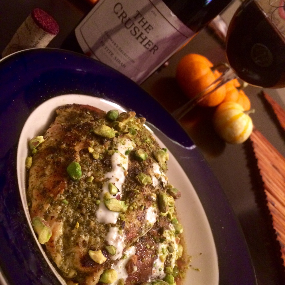 Pesto Chicken with Portobello, Goat Cheese Drizzle and Toasted Pistachios