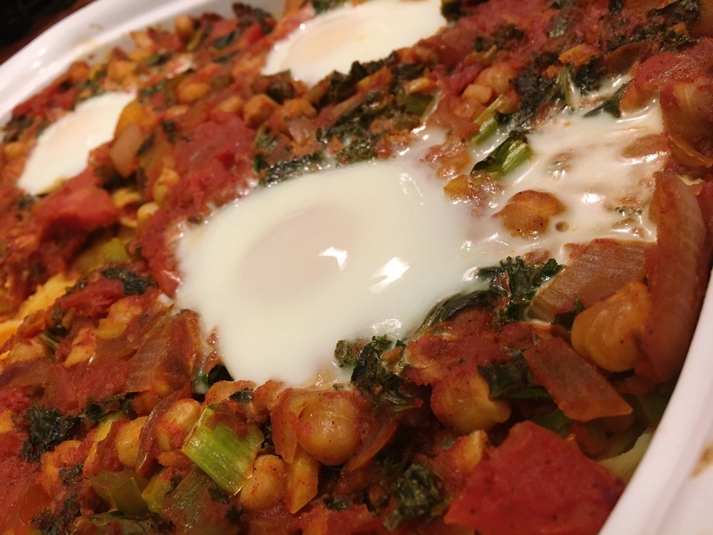 Chickpea & Kale Tagine with Baked Eggs