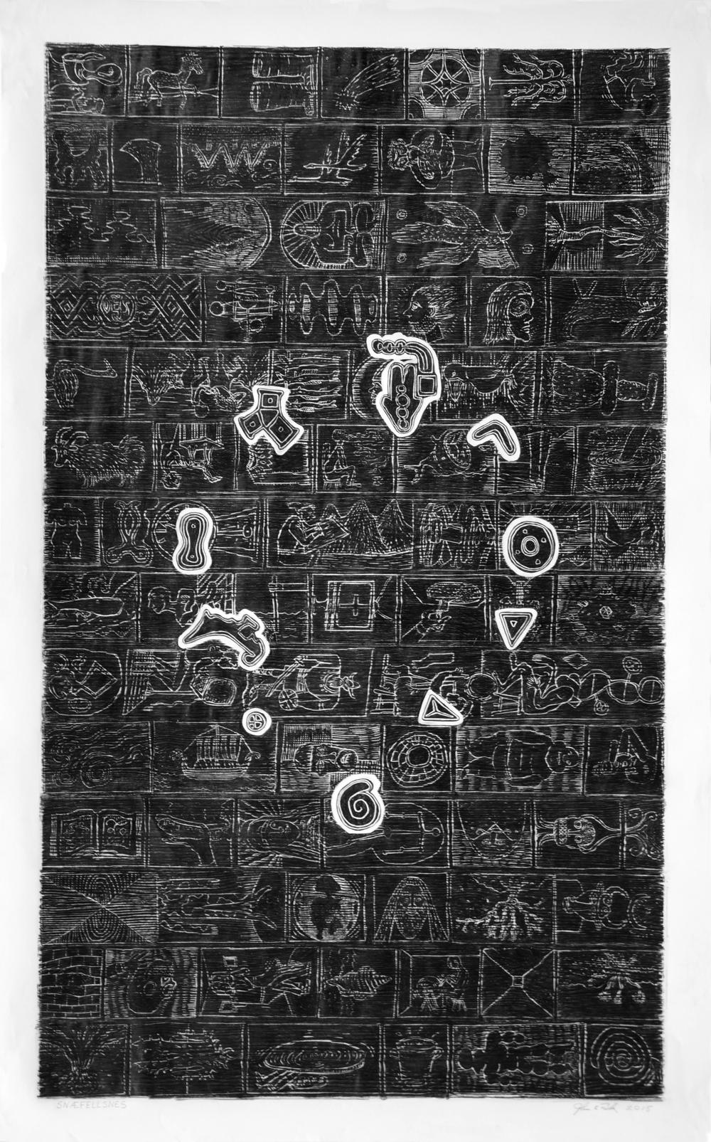 "John Buck / Snaefellsnes, 2015 /Woodblock Rubbing /64"" x 43 1/4"" x 2 1/2"""