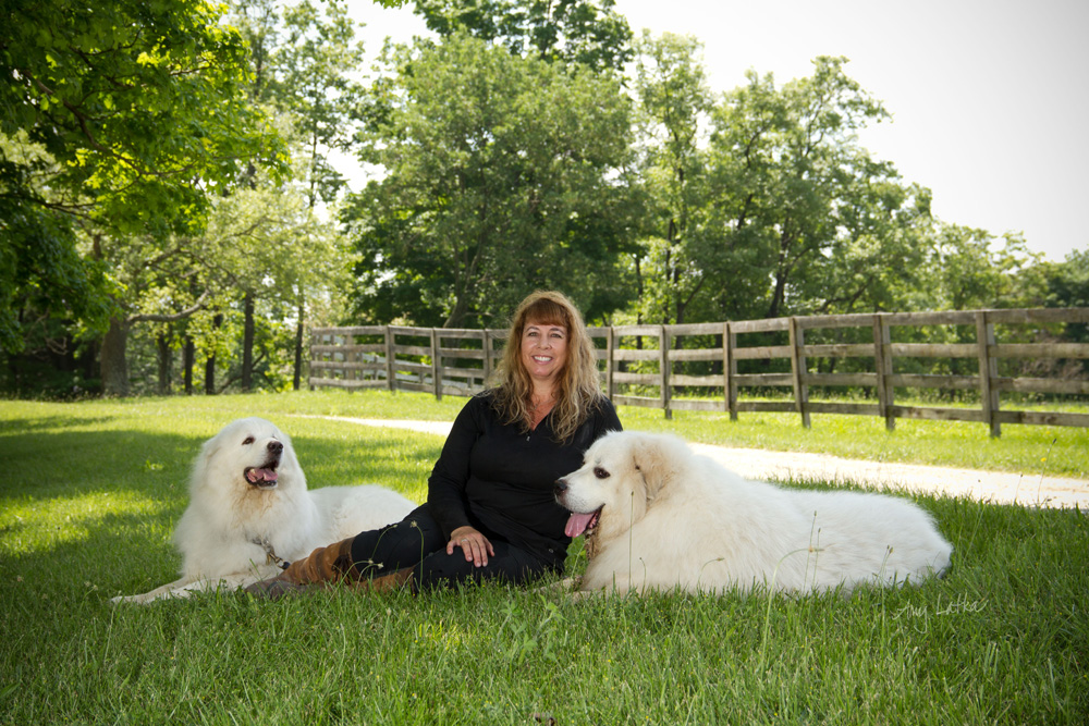 I love it when clients bring their dogs for a mini session too.  Kathy added her two Great Pyrenees dogs, George and Strider to the farm's gorgeous setting to create lasting memories.