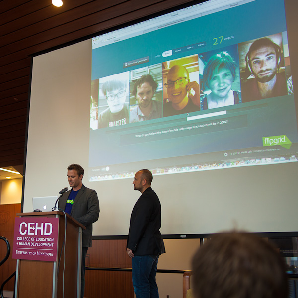 Dr. Charles Miller and Brad Hosack launching Flipgrid at the CEHD Fall 2012 Assembly.