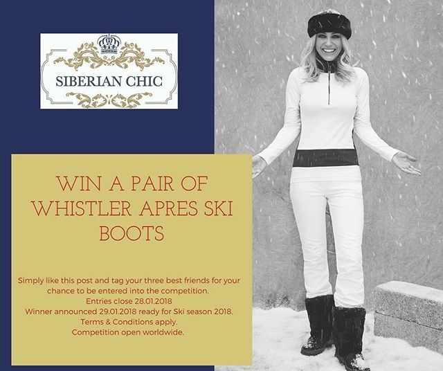 Here is your chance to WIN a pair of our celebrity endorsed Whistler Boots ready for Ski Season 2018!  All you have to do is like this post and tag three of your best friends to enter!  As simple as that!  Entries close 28.01.2018 with the winner announced on 29.01.2018.  Competition open worldwide.  Good Luck!  #ski #skiboots #boots #gift #giftsforhim #giftsforher #skiseason #snow #snowboarding #apresski #slopestyle #slopes #slope #winterfashion #winter #winterwonderland