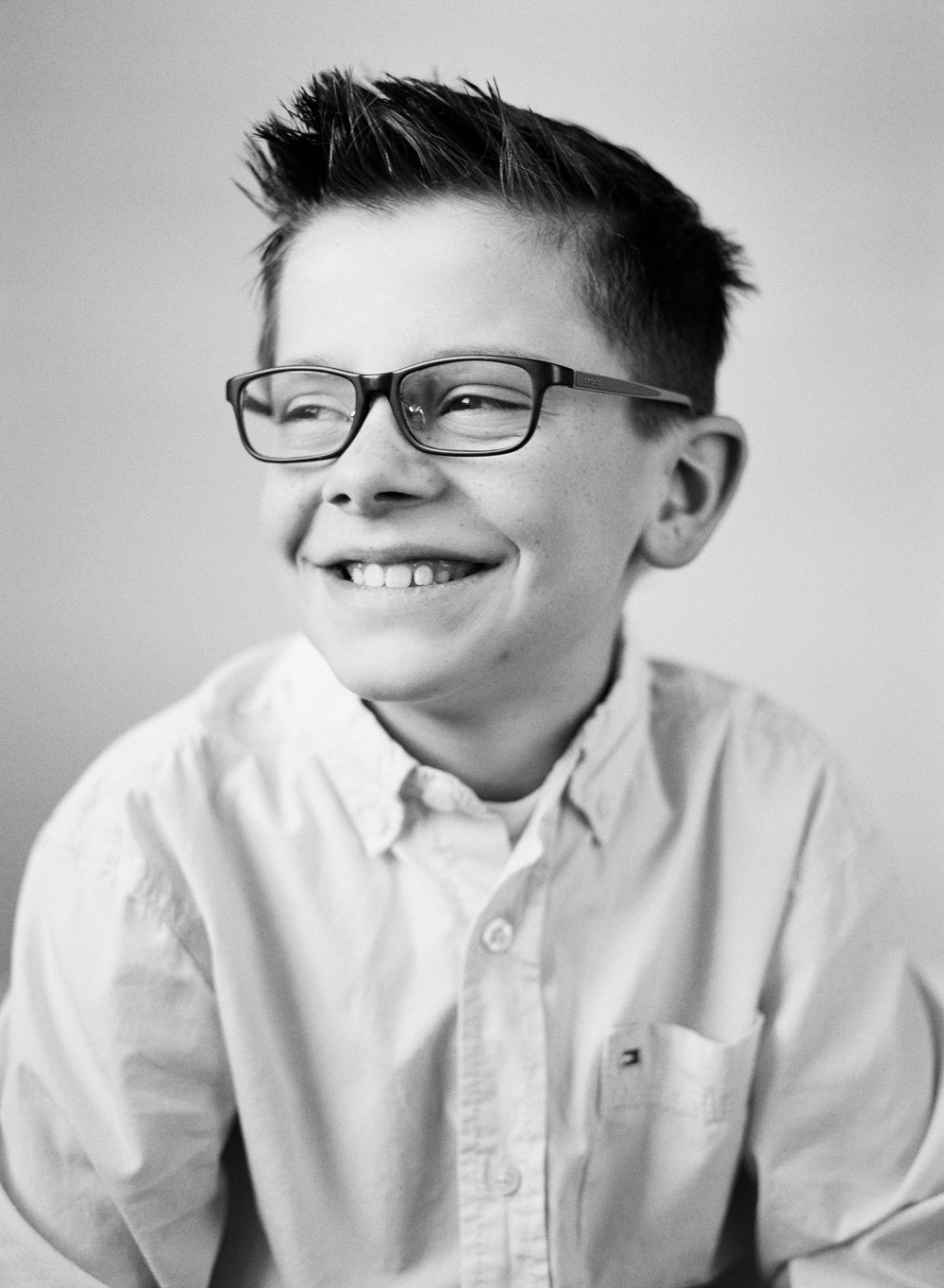 birthday black and white child portrait