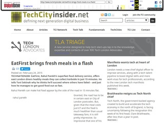 EatFirst brings fresh meals in a flash - TechCityInsider, February 2015