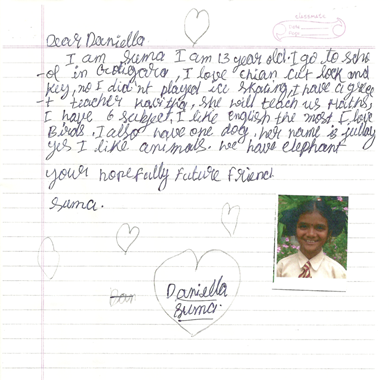 The first letter I received from my pen pal, Suma.