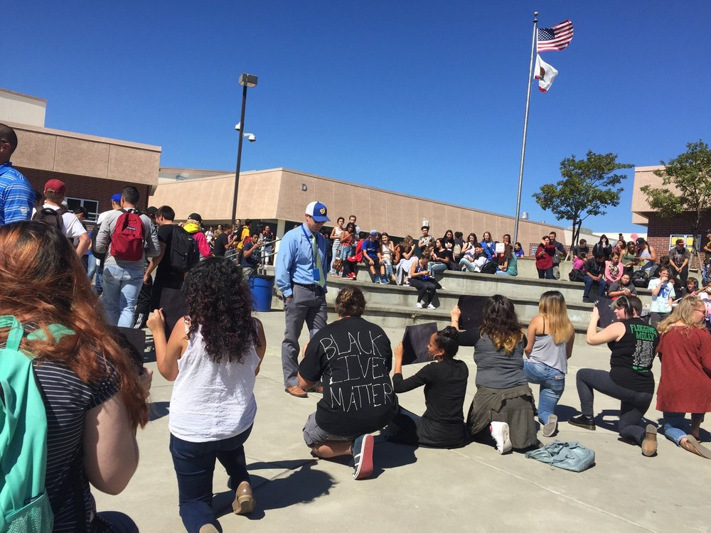 Students gathering at Will C Wood High School in Vacaville, CA.