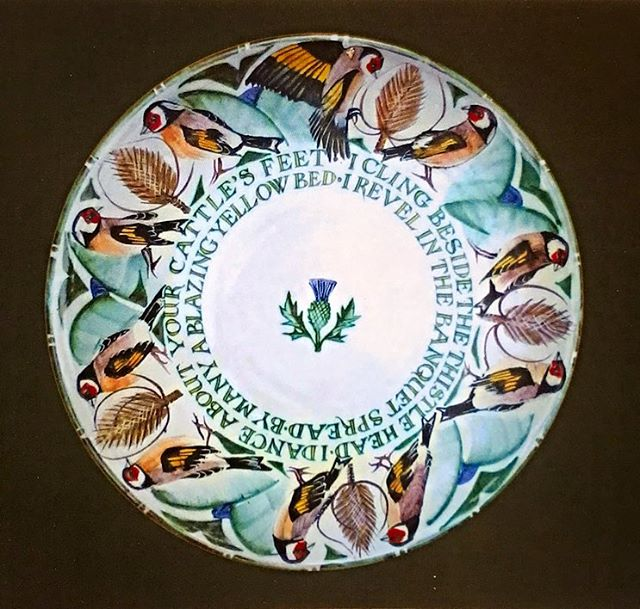 Inscribed 38cm charger 'I cling beside the thistle head I dance about your cattle's feet I revel in the banquet spread by many a blazing yellow bed #yarntonpottery #andrewhazelden #goldfinches #tinglaze