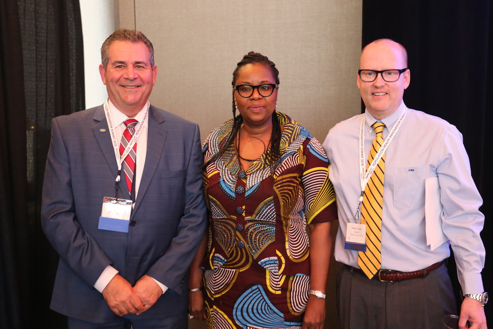 Keynote Speaker Dr. Adetutu Adetona of the Lansingburg Family Practice in Troy, NY (center), Dr. Anthony Marinello, Vice President for Primary Care Services, CDPHP (left) and Kevin Owens, NYSTEC Director, Health Industry – Strategy & Design (right)