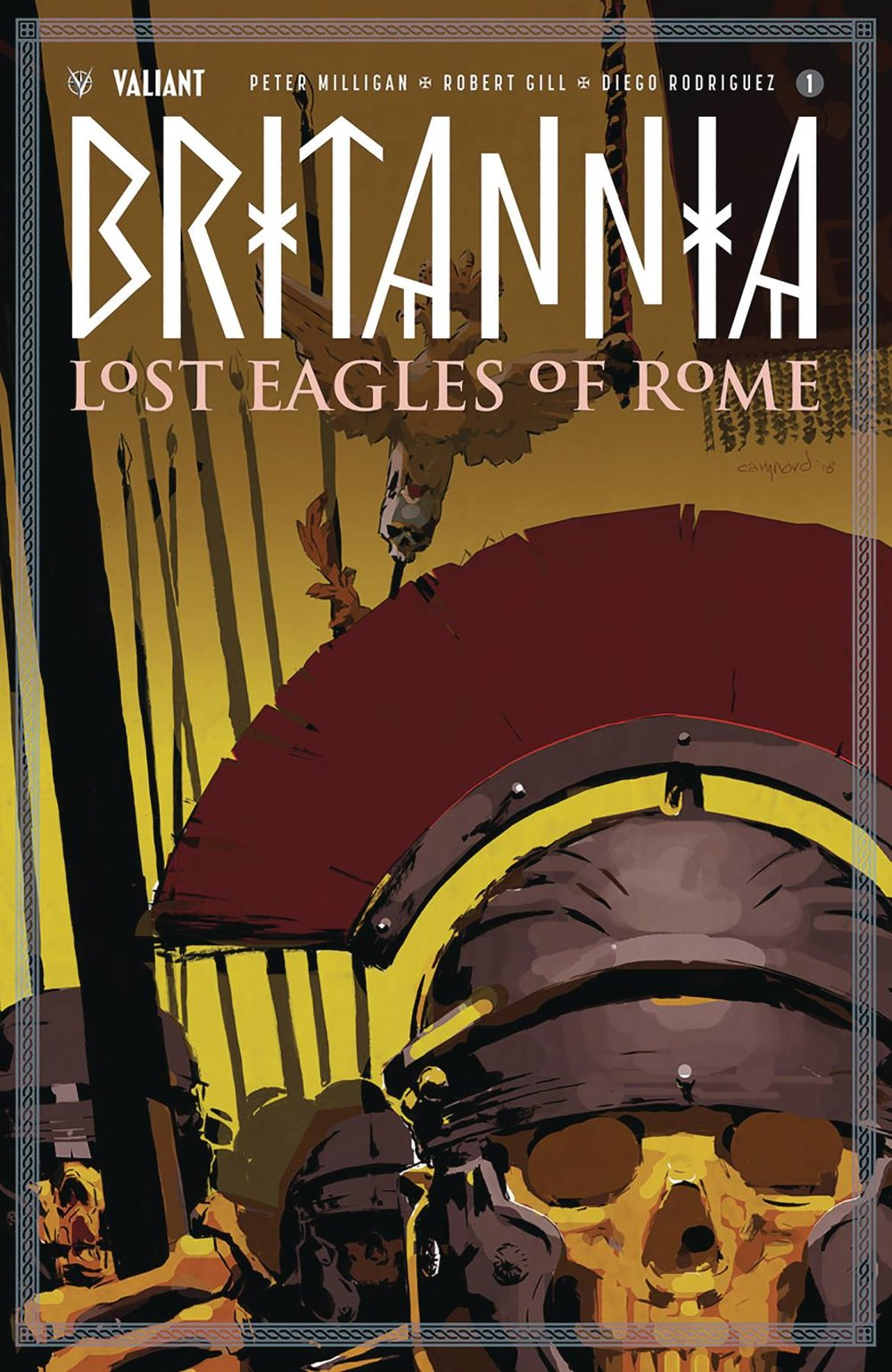 "VALIANT ENTERTAINMENT LLC  (W) Peter Milligan (A) Robert Gill (CA) Cary Nord  AN ALL-NEW EPIC BEGINS! Valiant's sold-out descent into the horrors of the ancient world returns with A BLOODSTAINED JUMPING-ON POINT from legendary comics master Peter Milligan (Detective Comics) and Harvey Award-nominated artist Robert Gill (BOOK OF DEATH) as Antonius Axia, history's first detective, launches into an otherworldly mystery of monsters, magic, and conspiracy at the boundaries of human understanding...     The Roman standard - the eagle borne at the front of each Roman legion - was more than just a symbol of the soldiers that carried it... It was a symbol of Rome itself, the ultimate embodiment of the empire's power...      But now, in the mist-shrouded Germanic forest of Tottenwald, the unthinkable has happened: A rampaging barbarian horde has crushed three of Rome's most highly skilled detachments in battle... and captured their mighty Roman eagles.     His authority threatened by this all-too-public shame, the mad emperor Nero has dispatched Antonius Axia, the empire's finest ""detectioner"" and hero of Britannia, and Achillia, the sword-wielding champion of the gladiatorial arena, to reclaim his stolen relics at any cost.      But what began as a simple mission will soon become a terrifying journey into the dark heart of belief itself as the isolated woodlands of Rome's enemies reveal unseen dimensions...and the true power of the legion's lost eagles threatens to consume any who would pursue them…"