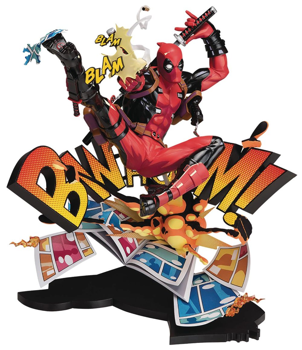DEADPOOL BREAKING THE FOURTH WALL PVC STATUE