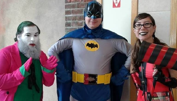 From left to right: Joseph Viecelli as The Joker, Scott Fine as Batman, and Neena Biello as Harley Quinn.