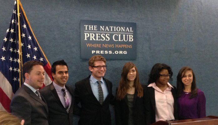 (l to r): Eric Dawson, President and Co-founder of PeaceFirst, with 2014 PeaceFirst Prize winners -- Amit Dodani, Matthew Kaplan, Eli Erlick, Imani Henry, and Amanda Matos.
