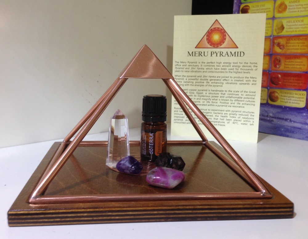 Charging Crystals and essential oils under the Meru Pyramid - We had a great three days giving people a chance to feel the energy of these beautiful tools, from small children to Reiki masters, the simply curious to old-timers!
